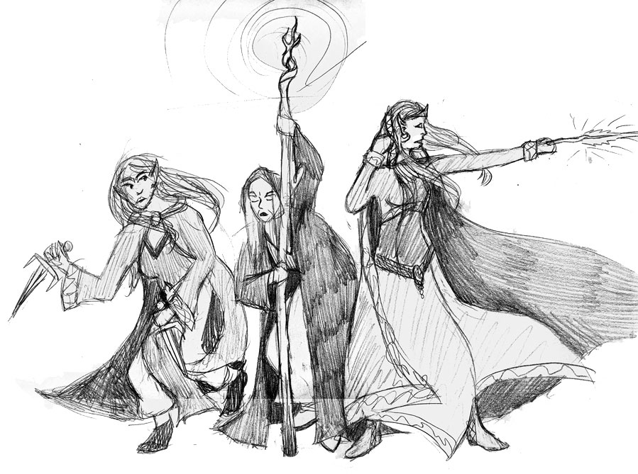 gray elves three women